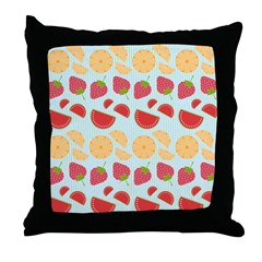 Modern Fruit Art Throw Pillow