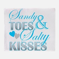 sandy toes salty kisses Throw Blanket