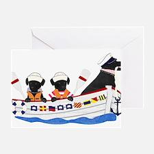 Nautical Preppy Black Lab Dogs Greeting Card