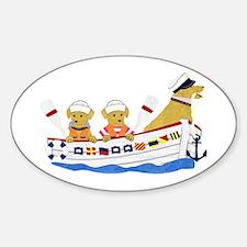 Nautical Preppy Retriever Dogs Sticker (Oval)