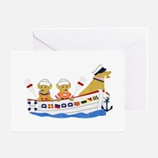 Nautical Preppy Retriever Dogs Greeting Card