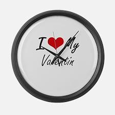 I Love My Valentin Large Wall Clock