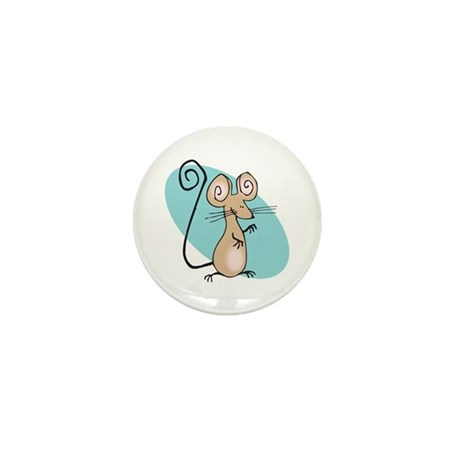 Silly Tan Happy Mouse Mini Button