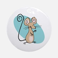 Silly Tan Happy Mouse Ornament (Round)