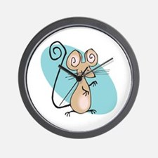 Silly Tan Happy Mouse Wall Clock