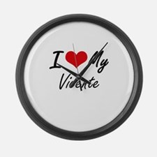 I Love My Vicente Large Wall Clock