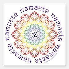 """Namaste Lotus Square Car Magnet 3"""" x 3"""""""