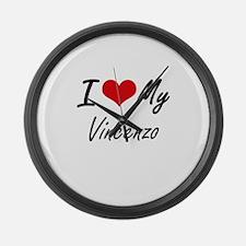 I Love My Vincenzo Large Wall Clock