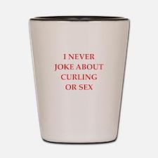 curling joke Shot Glass