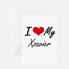 I Love My Xzavier Greeting Cards