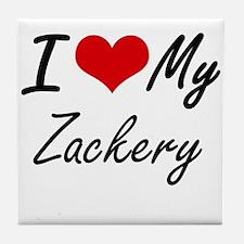 I Love My Zackery Tile Coaster
