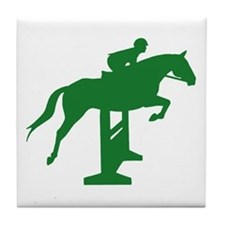 Hunter Jumper Fence Green Tile Coaster