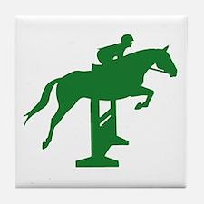 Hunter Jumper Fence Green Tile Coaster
