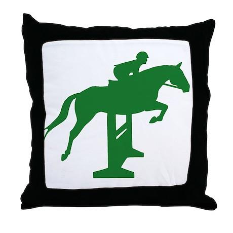 Hunter Jumper Fence Green Throw Pillow
