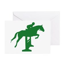 Hunter Jumper Fence Green Greeting Cards (Pk of 10