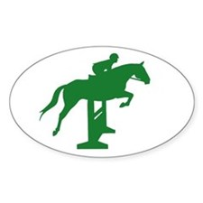 Hunter Jumper Fence Green Oval Bumper Stickers