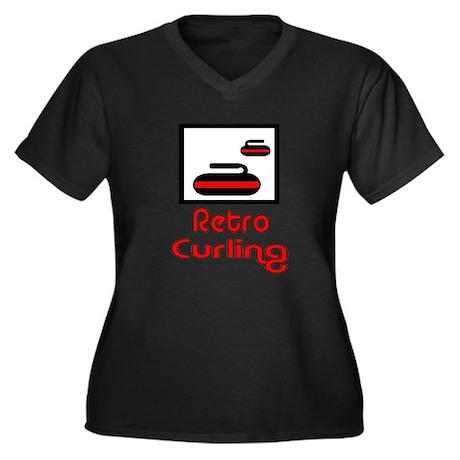Retro Curling Women's Plus Size V-Neck Dark T-Shir