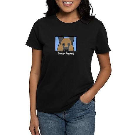 Anime German Shepherd Women's Black T-Shirt
