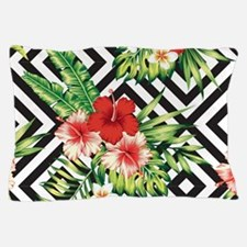 Tropical Flowers Black & White Geometr Pillow Case
