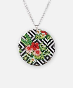 Tropical Flowers Black & Whi Necklace