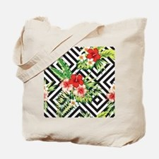 Tropical Flowers Black & White Geometric Tote Bag