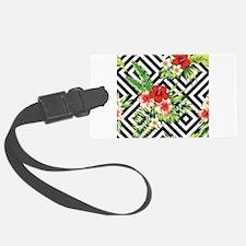 Tropical Flowers Black & White G Luggage Tag