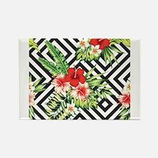 Tropical Flowers Black & White Geometric P Magnets
