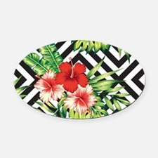 Tropical Flowers Black & White Geo Oval Car Magnet