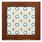 Vintage Tea Pattern Framed Tile