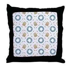 Vintage Tea Pattern Throw Pillow