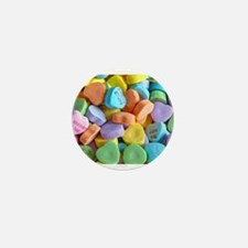 Colorful Candy Hearts Mini Button