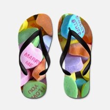 Colorful Candy Hearts Flip Flops