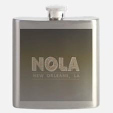 NOLA New Orleans Black and Gold Shaded Flask