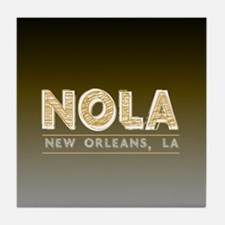 NOLA New Orleans Black and Gold Shade Tile Coaster