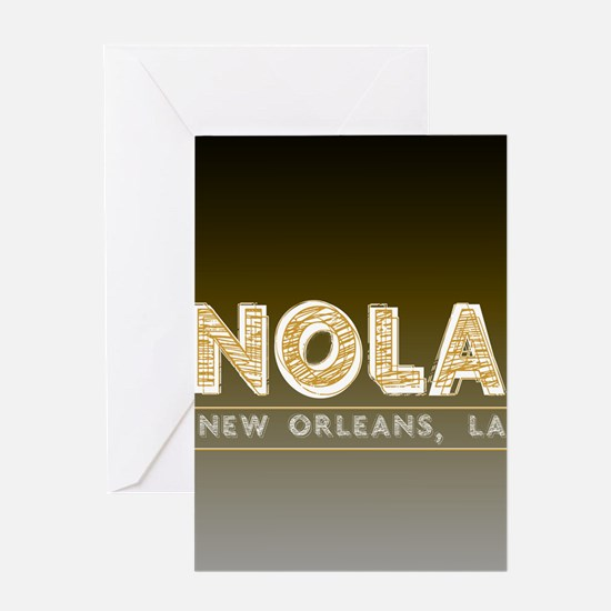 NOLA New Orleans Black and Gold Sha Greeting Cards