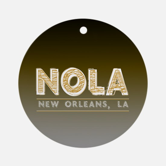 NOLA New Orleans Black and Gold Sha Round Ornament