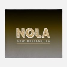 NOLA New Orleans Black and Gold Shad Throw Blanket
