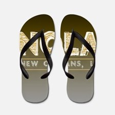 NOLA New Orleans Black and Gold Shaded Flip Flops