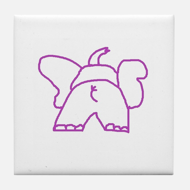 Pink Elephant Tile Coaster