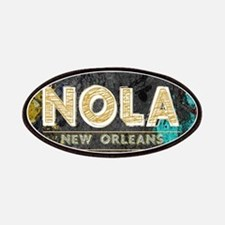 NOLA New Orleans Black Gold Turquoise Grunge Patch