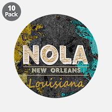 "NOLA New Orleans Black Gold 3.5"" Button (10 pack)"