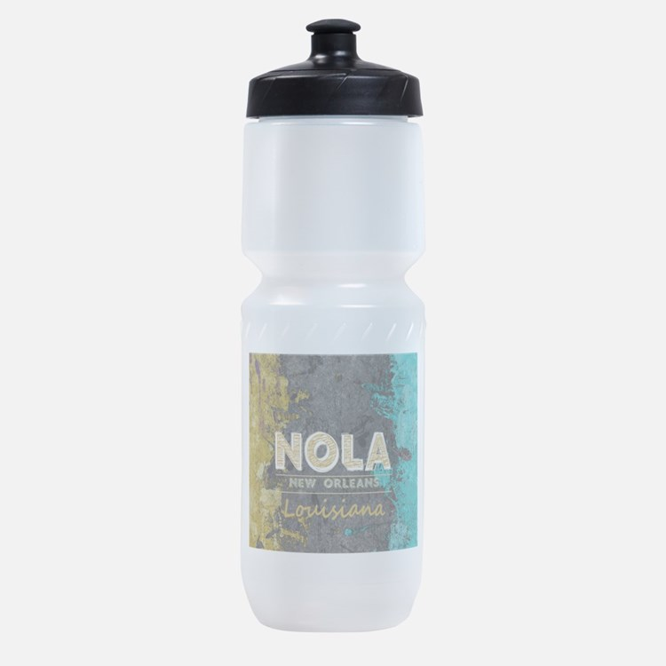 NOLA New Orleans Black Gold Turquois Sports Bottle