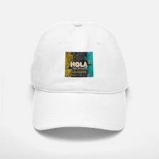NOLA New Orleans Black Gold Turquoise Grunge Baseball Baseball Cap