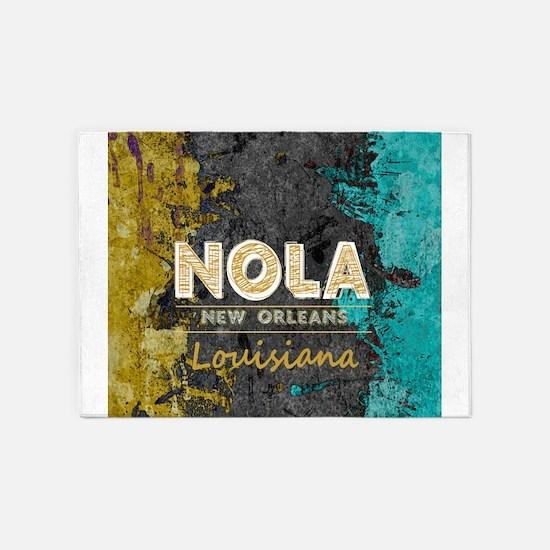 NOLA New Orleans Black Gold Turquoi 5'x7'Area Rug