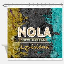 NOLA New Orleans Black Gold Turquoi Shower Curtain