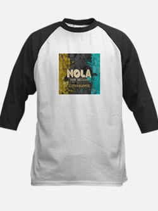 NOLA New Orleans Black Gold Turquo Baseball Jersey