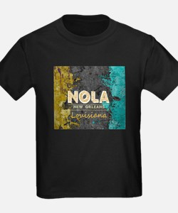 NOLA New Orleans Black Gold Turquoise Grun T-Shirt