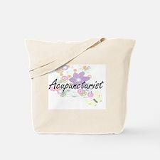 Acupuncturist Artistic Job Design with Fl Tote Bag