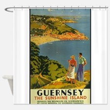 Guernsey Vintage Travel Poster Shower Curtain