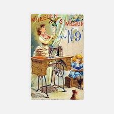 Sewing Machine, Vintage Poster Area Rug